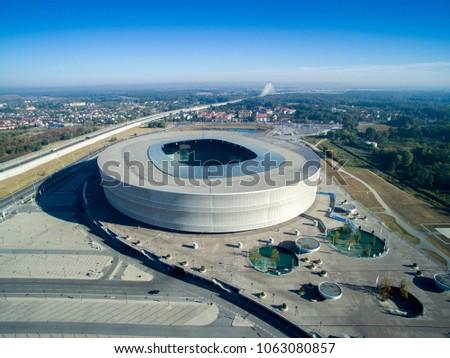 Stadion Wroclaw, Most Redzinski, panorama, widok z powietrza, from the sky Zdjęcia stock ©