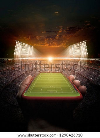 stadium and phone 3d rendering (composition and stadium is the imaginary)