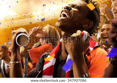 stadium black skin african soccer fans emotions portrait