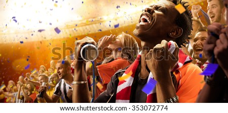 stadium black skin african soccer fans emotions portrait