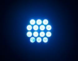 Stadium blue lights in a  night