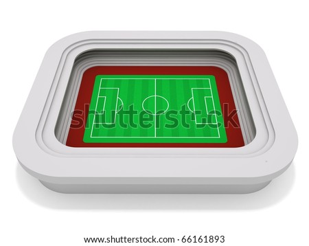 Stadium. 3D rendering of a soccer (football) stadium - stock photo
