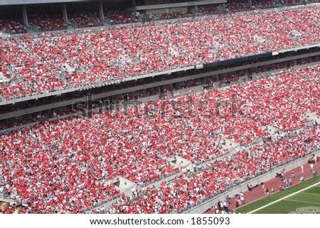 stadium full of fans stock photo