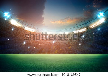 stadium in lights and flashes 3d. #1018189549