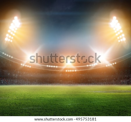 stadium in lights and flashes 3d. #495753181