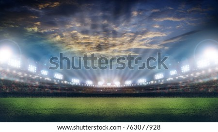 stadium in lights and flashes 3d. #763077928