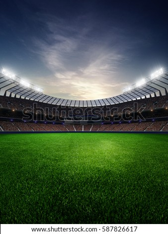 stadium in sunset. with people fans. 3d render illustration blue sky