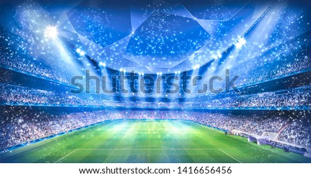 Stadium in the night light. 3D illustration