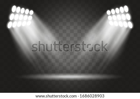 Stadium lights effect on a background. Spotlights realistic illustration. Lighting design template, empty scene.