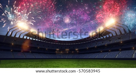 Stadium night light without people fireworks 3D rendering