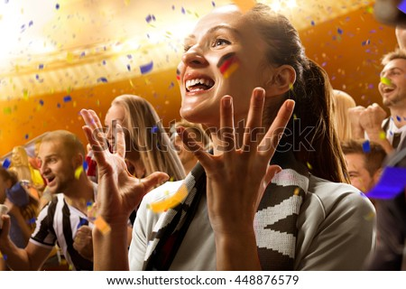 stadium soccer fans emotions portrait Germany flag