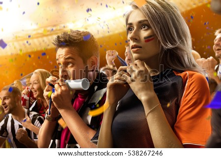 stadium soccer fans emotions portrait woman panorama wiev