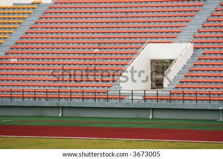 stadium with seats of several colors