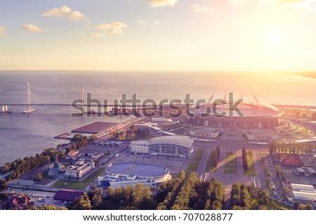 Shutterstock Stadium Zenit Arena, St. Petersburg at sunset, top view
