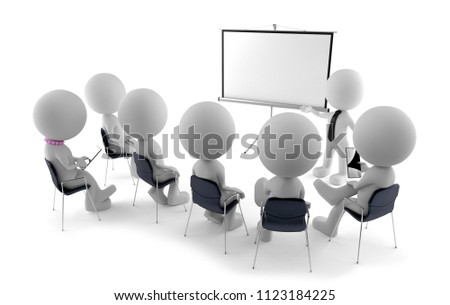 Staff training - lecturer stands at flipchart (3d rendering)