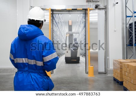Shutterstock Staff worker control in freezing room or warehouse