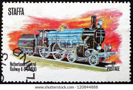 STAFFA - CIRCA 1973: a stamp printed in Staffa, Scotland shows Locomotive, Netherlands Central Railway 4-6-0, 1910, circa 1973