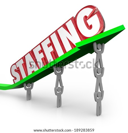 Staffing Word Arrows Workers Lifting Together Job Hiring