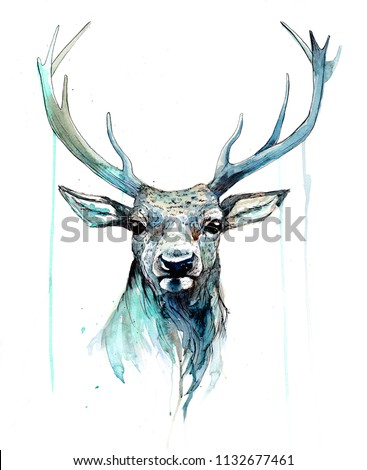 Stag deer painting in watercolours. Beautiful stag deer artwork with colour splashes, portrait of a stag deer in blues and greens. A traditional artwork in a sketchy style. Good for cards, print etc.