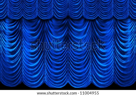 Stage blue curtains - stock photo