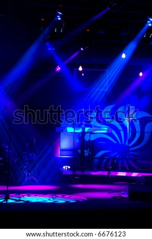 Stage blue lights Lights and patterns with musical instruments
