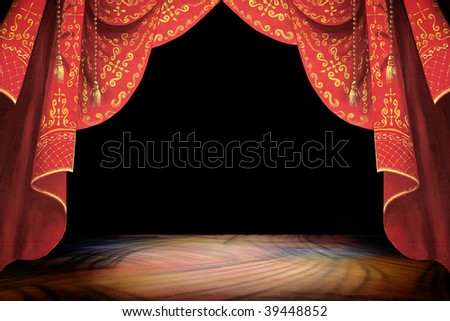 Stage curtain and background illustration