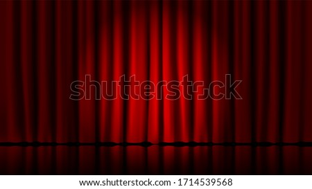 Stage curtains light by searchlight. Realistic theater red dramatic curtains, spotlight on stage theatrical classic drapery template illustration. Circus and movie, standup interior 3D Illustration