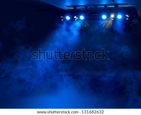 stage for performances in smoke #131682632