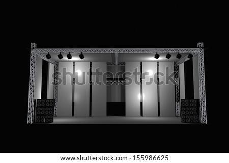 Stage Illustration in Black. 3D Illustration of Music Stage
