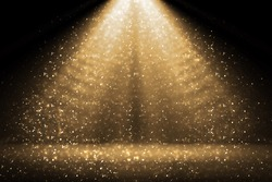 Stage light and golden glitter lights on floor. Abstract gold background for display your product. Spotlight realistic ray. Merry Christmas 2020