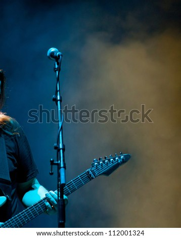 Stage lights and microphone - stock photo