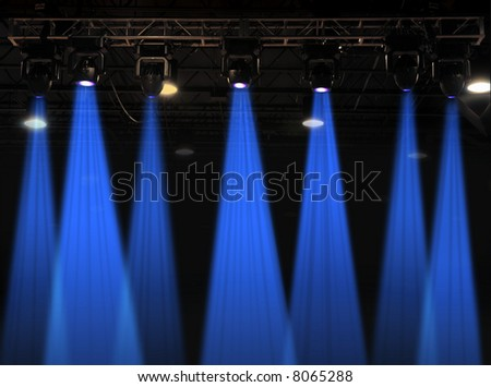 Stage lights in blue with metal rack
