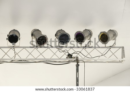 Stage lights near ceiling of outdoor stage