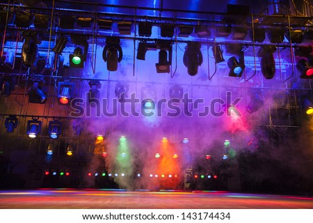 Stage lights on a console, smoke #143174434