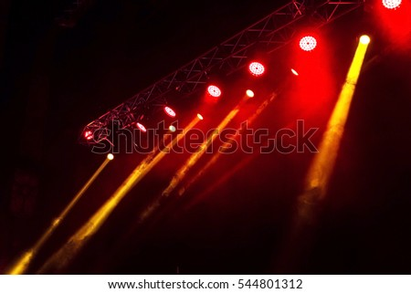 Stage Lights Several Projectors In The Dark Multi Colored Light Beams From