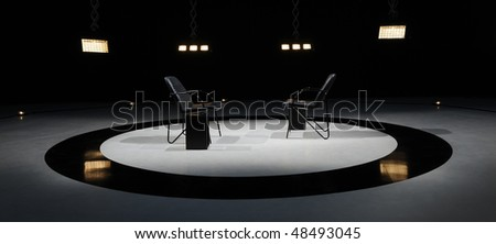 Stage lights - Studio prepared for production and shooting TV duel