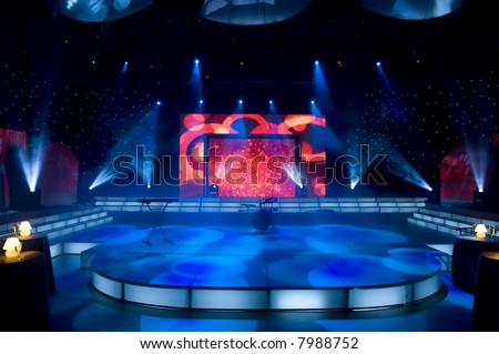 Stage lights - Studio prepared for production and shooting TV show