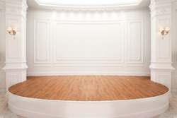 Stage of auditorium with wooden floor.