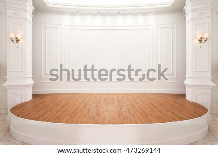 Stage of auditorium with wooden floor. #473269144