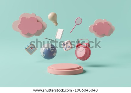 Stage podium display clock alarm timetable routine calculation cloud invention note notebook paper writing global calendar pencil. kids cute pastel pink objects of learning education. 3D Illustration.