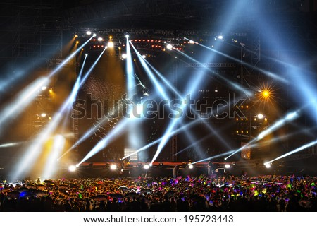 Stage Spotlight with Laser rays #195723443