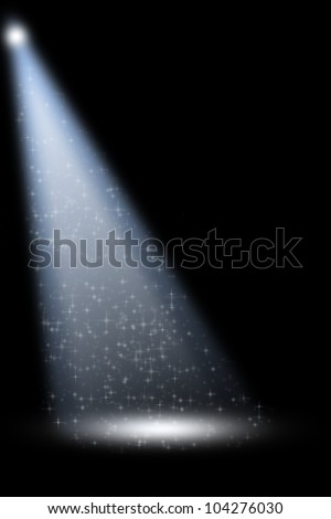 Stage Spotlight with Laser rays on black background - stock photo