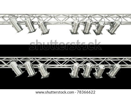Stage spotlights isolated over white and black background. 3D render.