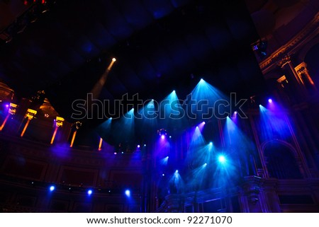 stage strobe and neon lights in philharmonic hall
