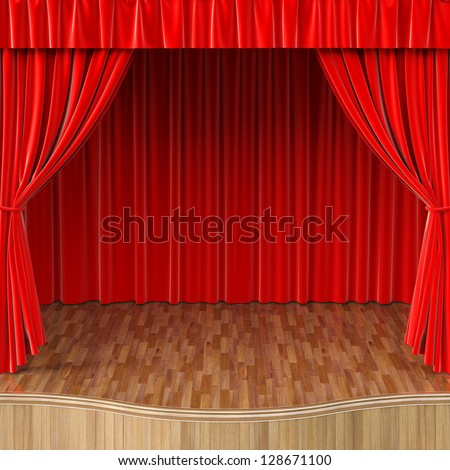 stage with open red curtain