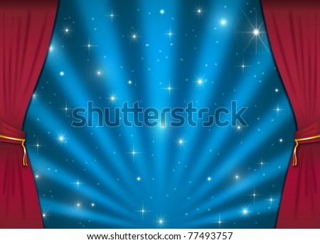 stage with red curtains. A background with a stage for you