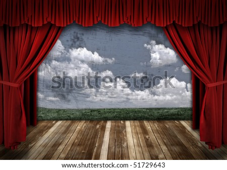 Stage With Red Velvet Theater Curtains and Sky Background