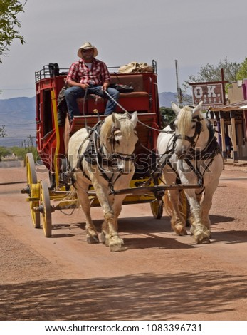 stagecoach in the city of...