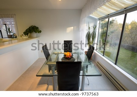 Staged dining room with a view