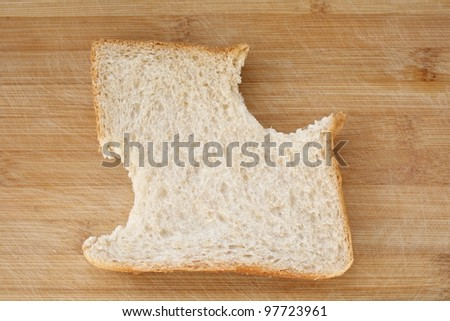 Stages in eating a slice of bread
